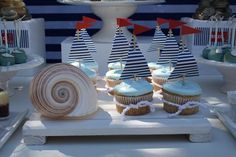 [Inspiration] Nautical Birthday Dessert Table - Spaceships and Laser Beams Love the sail boat cupcakes and table decor Dessert Party, Dessert Table Birthday, Birthday Desserts, Party Desserts, Boy Birthday Parties, Dessert Tables, Party Cupcakes, Blue Cupcakes, Birthday Celebration