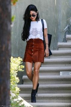 Vanessa Hudgens street style. #vintage #cool #suede #skirt #lace #crochet #hsm #fashion #style #tips #spring #style #2017trends