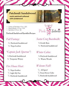 Patchouli sandalwood recipes www.pinkzebrahome.com/JessicaScudder