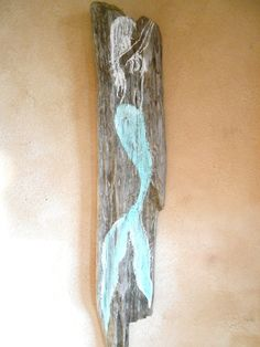 Hand Painted Mermaid on Driftwood  Beach by tawnystreasures