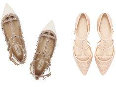 Studded Pointy Flats: Valentino vs Zara