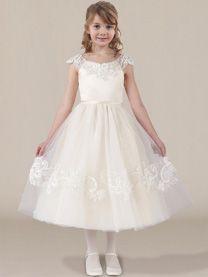 Cute All White Tulle Flower Girl Dress