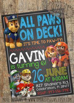 Paw Patrol invitation, paw patrol birthday party ideas