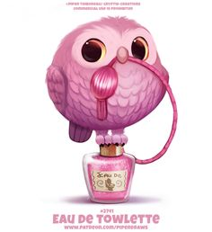 Eau de Towlette - Word Play by Cryptid-Creations on DeviantArt Cute Food Drawings, Cute Animal Drawings Kawaii, Kawaii Drawings, Art Mignon, Drawing Now, Drawing Ideas, Animal Puns, Cute Fantasy Creatures, Creature Drawings