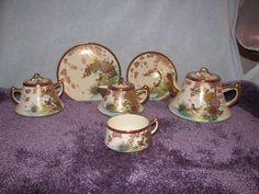 Rare Vintage SoKo Hand Painted China Gold Birds 24 pc Teapot Set Made in Japan #SoHo
