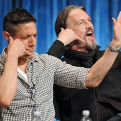 Theo Rossi & Tommy Flanagan ~ hahaha im only imagining what was being spoken here