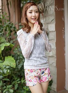 Artistic, Tops , $10.79, Artistic Slim Round Neckline Puff Sleeves Lace Base Blouse