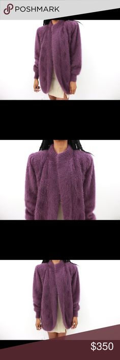 Purple Daze Vintage Angora Jacket Details: Purple Angora loose fitted extended jacket. Built shoulder pads. Vintage. Lined. Bust: 49.5 Waist: 49.5 Full Garment Length: 37 Marked Size: L Label: Custom Label Color: Violet Fabric: Angora Shell Condition/Care: Excellent/ Dry Clean Vintage Jackets & Coats