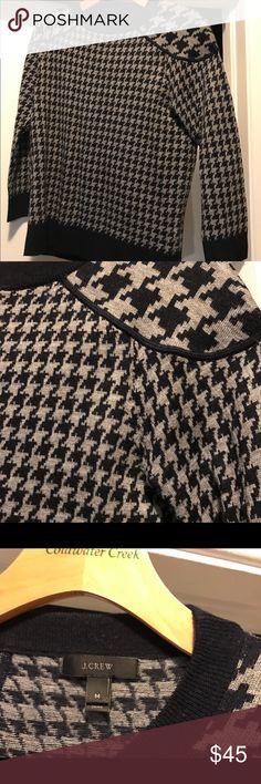 J. Crew merino wool houndstooth sweater medium J. Crew merino wool blend houndstooth sweater medium. Worn once, looks new. J. Crew Sweaters Crew & Scoop Necks