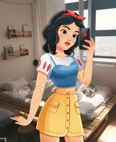 Kiev-based illustrator Daria Artemieva reimagines Disney princesses as if they're modern millennials. Each present-day princess wears contemporary outfits that pay homage to their signature style. The artist has even given some iconic Disney couples moder Disney Princess Fashion, Disney Princess Drawings, Disney Princess Art, Disney Drawings, Drawing Disney, Disney Princess Paintings, All Disney Princesses, Disney Couples, Disney Girls