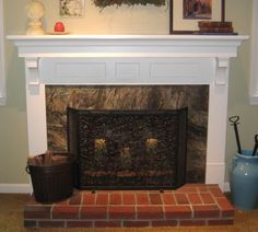 Furniture, Inspiring Fireplace Mantels Decorating Ideas For You: Awesome White Iron Fireplace Design With Log Bucket And Cool Red Brick Floo...