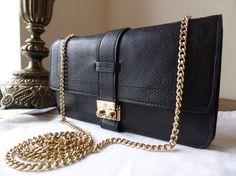 Mulberry Harriet Small Shoulder Bag Clutch Wallet in Black Glossy Buffalo -  SOLD a7302130f3