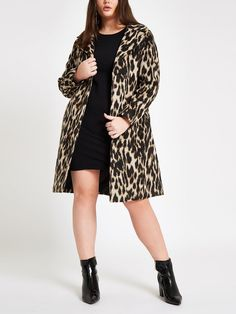 Womens Plus Brown leopard print belted robe coat Leopard Coat, Brown Leopard, High Leg Boots, Long Toes, Style Guides, River Island, Wool Blend, Plus Size, Lingerie