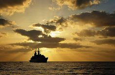 HMS Cornwall on Patrol.  HMS Cornwall is pictured on anti piracy operations near the African coast in February 2011.