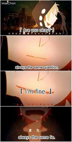 """trad: """"ça va?"""" - toujours la même question - """"je vais bien"""" - toujours le même mensonge"""