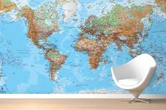 Physical World Map Mural Wallpaper Great site - type in the measurements of your wall and they provide quotes in three grades of paper