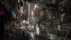 """artbyfrankhong: """" """"Sunflower Street"""" A futuristic Chinese metropolis displayed through a busy street scene. Personal piece recorded as I take a thumbnail from """"Introduction to Basic Thumbnails Part 2"""" from start to finish. Full video tutorial will be..."""