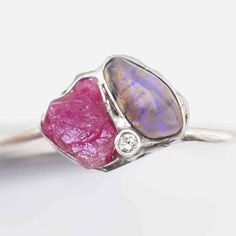 Opal Rubin Diamant Ring