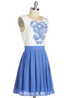 Network of Art Dress. Hosting a gathering for the most artistic locals is great for your network, and doing so in this blue and white twofer dress simply proves that you know a thing or two about aesthetics.  #modcloth