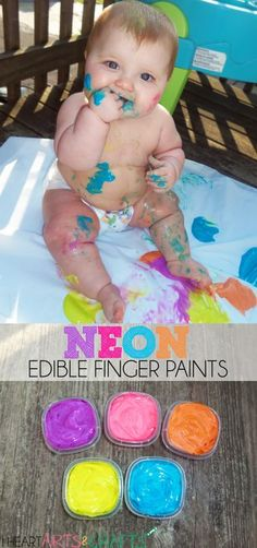 Neon Edible Finger Paints for babies and toddlers! A great way to introduce sensory activities and paint to little ones! Toddler Play, Baby Play, Baby Kids, Infant Play, Infant Art, Infant Room, Fun Baby, Baby Painting, Finger Painting