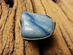 Sodalite blue natural stone adjustable ring tiffany method
