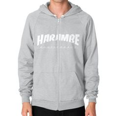 HARAMBE WHITE LOGO Zip Hoodie (on man)
