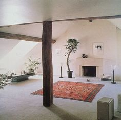 Love the skylight and the fireplace and the beams