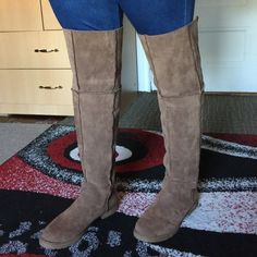 """Hudson over the knee boot pu suede Hudson Over the Knee Boot Size: 6.5 Color: TAUP: this is brand new in box. Shaft: 13; circumference: 14 and heel: 1.5.  """"No trade"""" great discounts on bundle, reasonable offer are welcome, please use the offer button. Thanks you for shopping on my closet. Shoes Over the Knee Boots"""