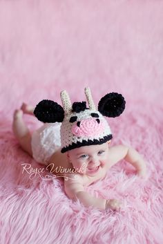 Cow Hat Baby Boy or Baby Girl Crochet Beanie and Photography Prop Ready item on Etsy, $17.94 CAD