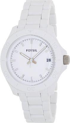 #Fossil AM4447 Retro Traveler Three Hand Resin Watch White #Fossil