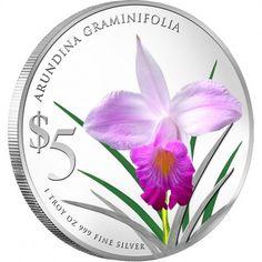 "Singapore Mint Arundina Graminifolia 2012 ""Native Orchids of Singapore"" Series 1 oz silver proof coin"