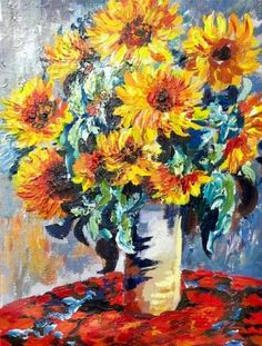 Sunflowers by Monet painted by Ginger Cook