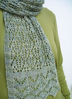 Lacy Scarf Knitting Patterns Free knitting pattern for Kernel lace scarf and more lacy scarf knitting patterns Gilet Crochet, Crochet Scarves, Knit Crochet, Knitting Scarves, Knit Lace, Knit Cowl, Crochet Granny, Hand Crochet, Free Crochet