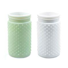 Ornate Mint & White Jars - Set of 2