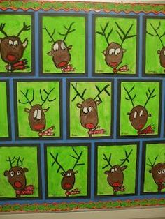 Christmas art ideas, holiday art lesson, reindeer art lesson, holiday bulletin boards, how to draw a reindeer