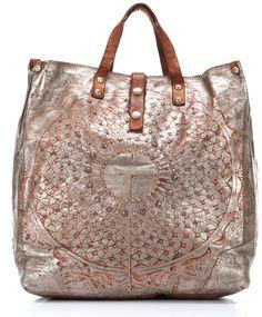 Campomaggi Lavata Gothic Tote Leather silver 36 cm - C2038LAVL-7018 - Designer Bags Shop - wardow.com
