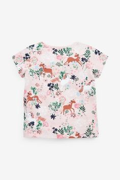 Buy Pink Unicorn 5 Pack T-Shirts from the Next UK online shop Kids Patterns, Animals For Kids, Shirts For Girls, Really Cool Stuff, Floral Tops, Cool Designs, Girl Outfits, Cotton, Mens Tops