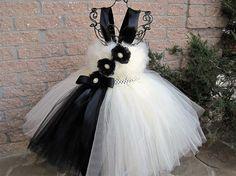 IVORY AND BLACK.  Tutu Dress.  Birthday Tutu Dress.  by ElsaSieron