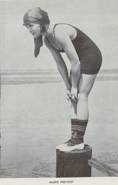 vintage everyday: Swimwear of the 1900s and 1910s Marie Prevost was a Mack Sennett's bathing beauty, ca. 1917.PUBLIC DOMAIN