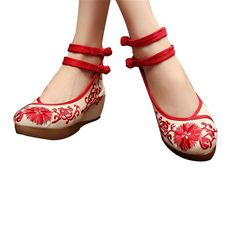 Chinese Embroidered Shoes Women Ballerina Cotton Elevator shoes Red