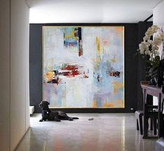 Handgefertigte große zeitgenössische Kunst Gemälde, Original Kunst Acryl Malerei, abstrakt Leinwand Kunst. Gelb, rot, blau, weiß, Orange.