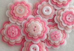 BABY GIRL x3 Handmade Layered Felt Flower by MagentaGingerCrafts