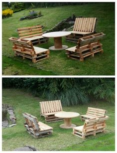 Garden set made from upcycled wooden pallets for the benches and a reel for the coffee table. Pallet Lounge, Pallet Patio, Pallets Garden, Wood Pallets, 1001 Pallets, Pallet Benches, Pallet Crafts, Diy Pallet Projects, Outdoor Projects