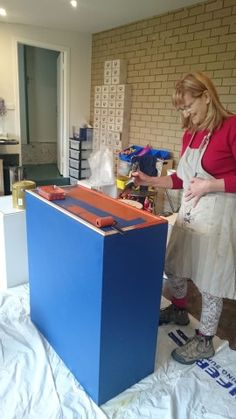 Getting Plinths and cabinets painted in the studio in preparation - at Monsalvat Natural Impressions Art Exhibition by Lesley Mitchell and Denise Keele-Bedford