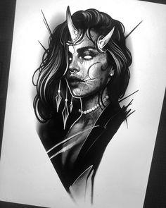 Ink Master Tattoos, Body Art Tattoos, Tattoo Sketches, Tattoo Drawings, Art Sketches, Tattoo Ink, Demon Tattoo, Dark Tattoo, Blue Tattoo