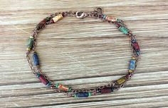 Bohemian Anklet with Czech Picasso Beads and Copper, boho anklet, hippie anklet, beaded anklet, boho, bohemian, ankle bracelet