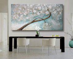 "Oil Painting 60"" Summer Shower Original Palette Knife texture Paula Nizamas Landscape BloomingTree Painting by Artcoast on Etsy https://www.etsy.com/listing/160412099/oil-painting-60-summer-shower-original"