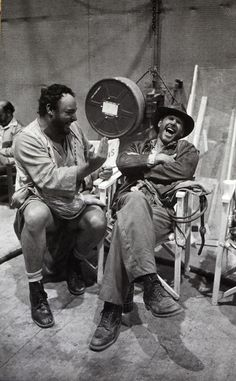 John Rhys-Davies and Harrison Ford on the set of Raiders of the Lost Ark    (source)