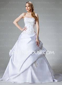 Wedding Dresses - $225.99 - Ball-Gown Sweetheart Chapel Train Satin Wedding Dresses With Embroidery  Beadwork (002000459) http://jenjenhouse.com/Ball-gown-Sweetheart-Chapel-Train-Satin-Wedding-Dresses-With-Embroidery--Beadwork-002000459-g459