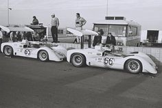 Jim Hall's Chaparrals in the pits